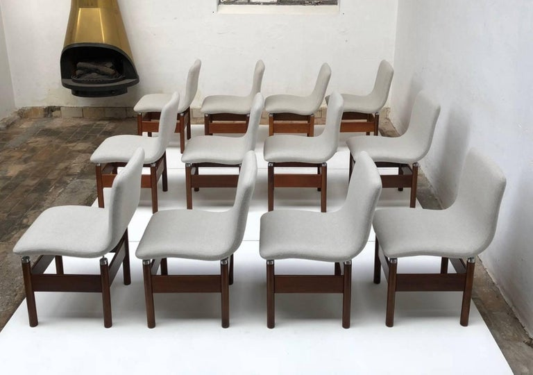 12 'Chelsea' Dining Chairs by Introini, Saporiti 1966, Upholstery Fully Restored 8
