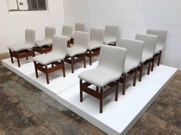 12 'Chelsea' Dining Chairs by Introini, Saporiti 1966, Upholstery Fully Restored 9