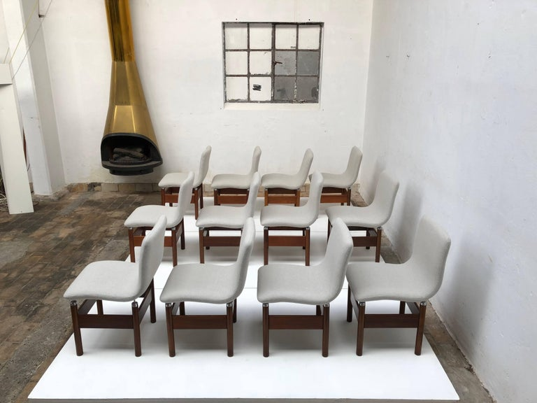 12 'Chelsea' Dining Chairs by Introini, Saporiti 1966, Upholstery Fully Restored 7