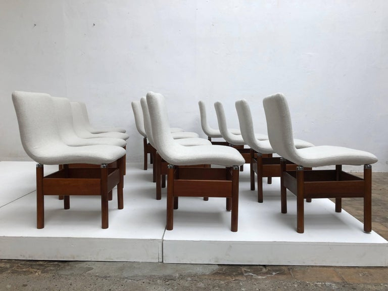 12 'Chelsea' Dining Chairs by Introini, Saporiti 1966, Upholstery Fully Restored 3
