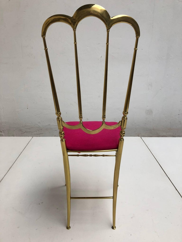 Solid Brass Chiavari Vanity / Side High Back Chair, Italy, 1960s 8