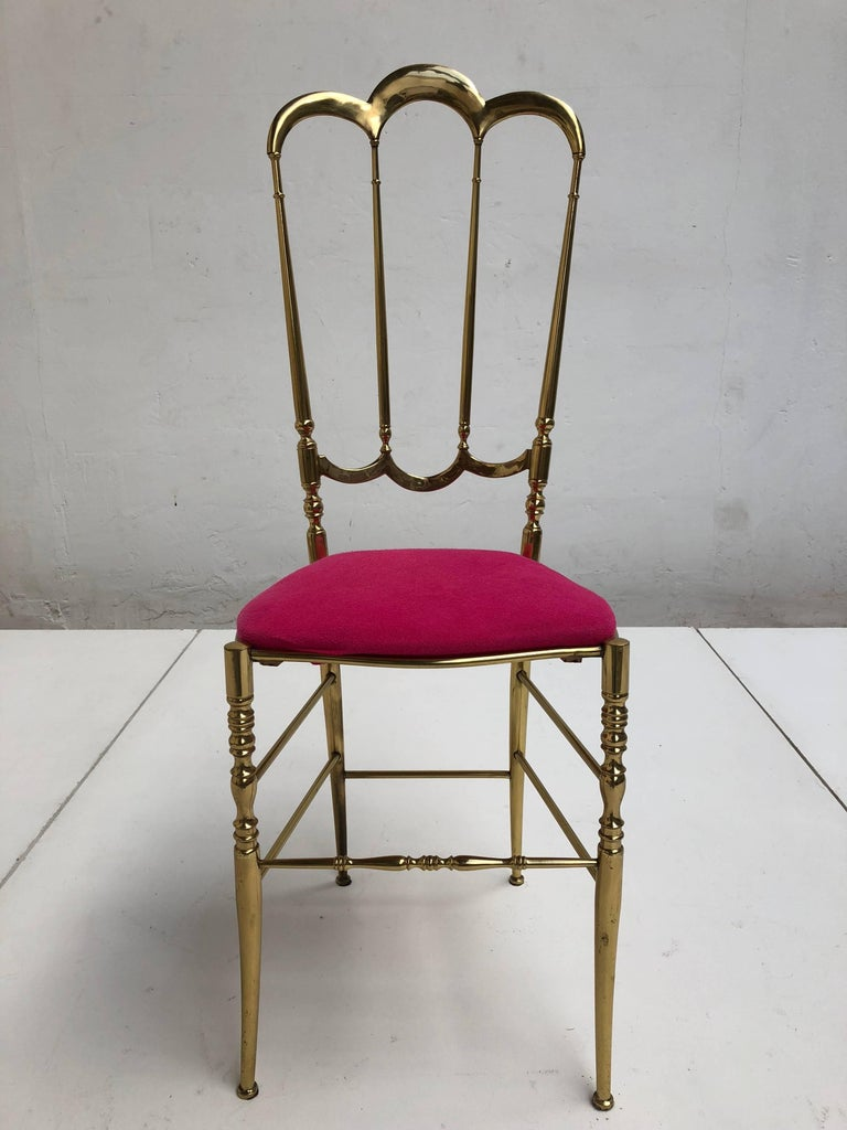 Solid Brass Chiavari Vanity / Side High Back Chair, Italy, 1960s 3