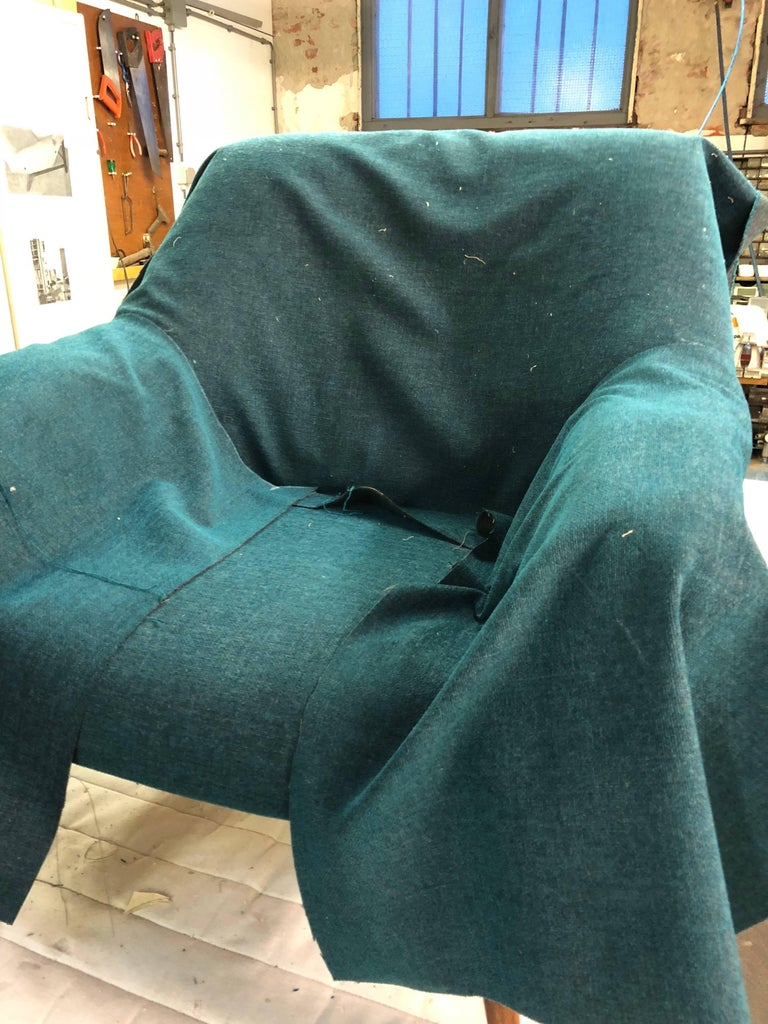 Wool Scandinavian Lady and Senior Easy Chairs with New De Ploeg Steppe Upholstery  For Sale