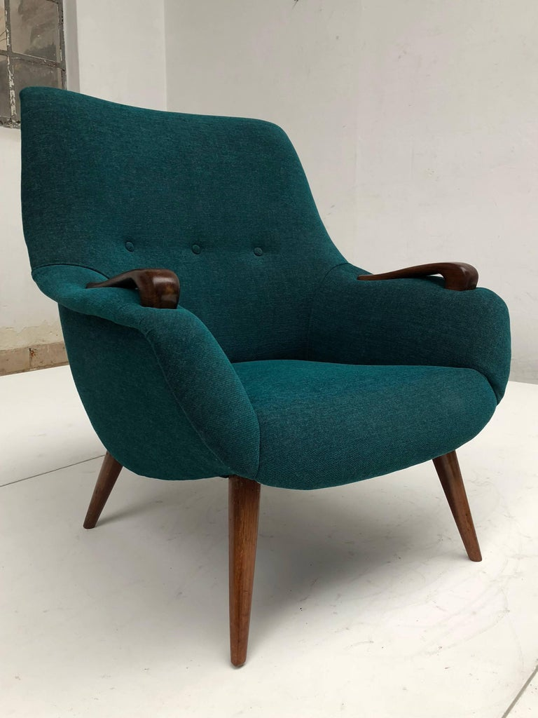 Danish Scandinavian Lady and Senior Easy Chairs with New De Ploeg Steppe Upholstery  For Sale