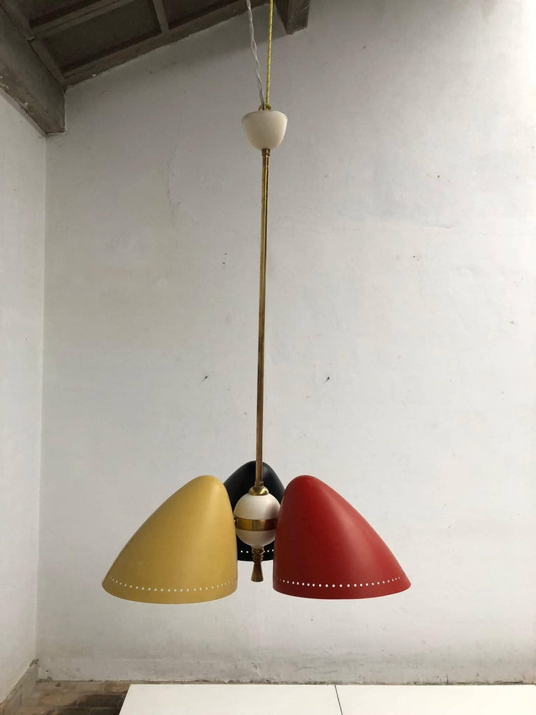 A large 1950s tri-color chandelier by Dutch H. Th. J. A. Busquet for Hala Zeist, The Netherlands   Nice brass detailing and a top quality early 1950s production by Hala Zeist who is renown for their top quality Mid-Century Modern lighting  The
