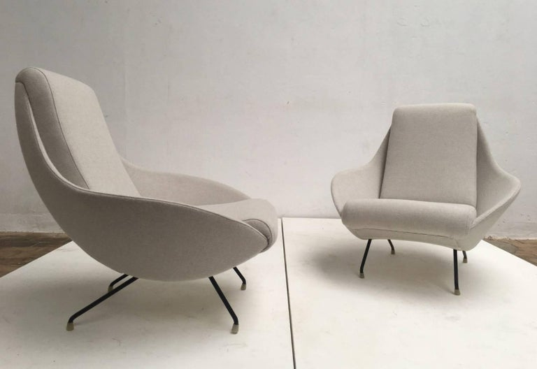 Mid-Century Modern Beautiful Restored Italian Sculptural Mantis Form Lounge Chairs, 1950-1955 For Sale