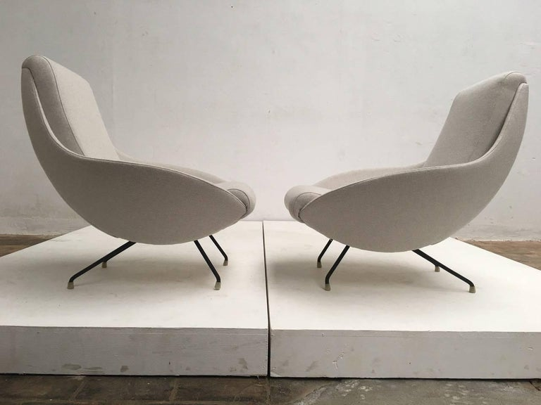 Enameled Beautiful Restored Italian Sculptural Mantis Form Lounge Chairs, 1950-1955 For Sale