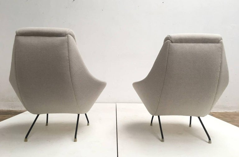 Beautiful Restored Italian Sculptural Mantis Form Lounge Chairs, 1950-1955 In Good Condition For Sale In bergen op zoom, NL