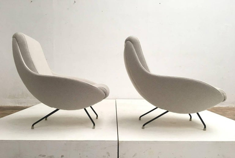 Mid-20th Century Beautiful Restored Italian Sculptural Mantis Form Lounge Chairs, 1950-1955 For Sale