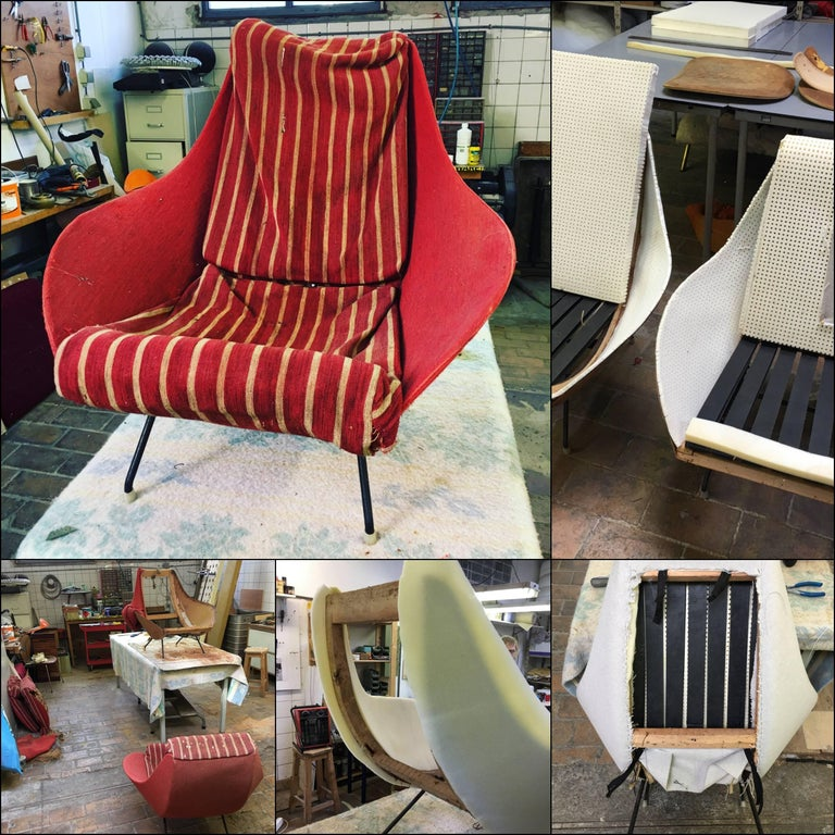 Beautiful Restored Italian Sculptural Mantis Form Lounge Chairs, 1950-1955 For Sale 3