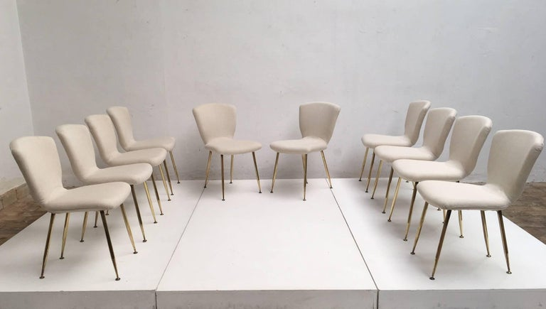 Mid-Century Modern Ten brass leg Dining Chairs by Louis Sognot for Arflex, Italy 1959. Published. For Sale