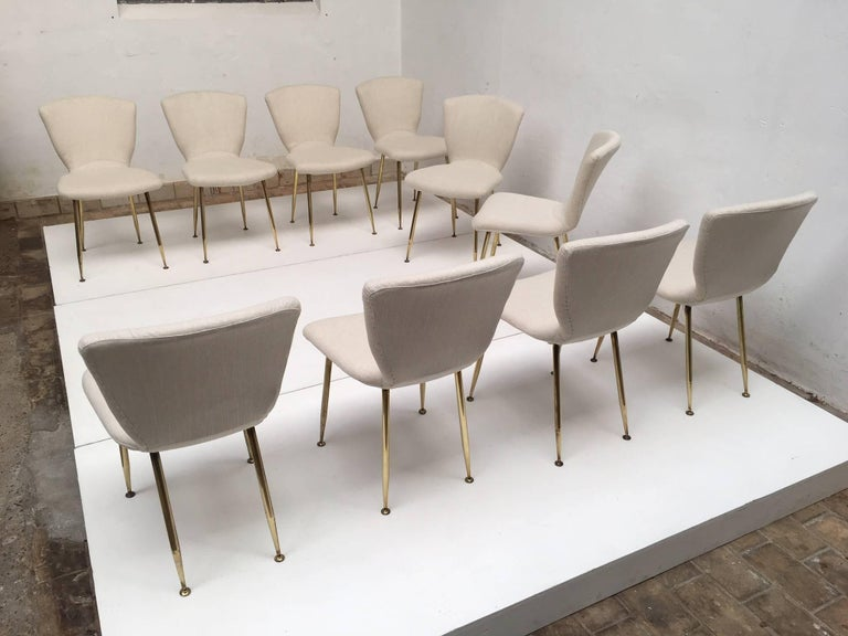 Ten brass leg Dining Chairs by Louis Sognot for Arflex, Italy 1959. Published. In Good Condition For Sale In bergen op zoom, NL
