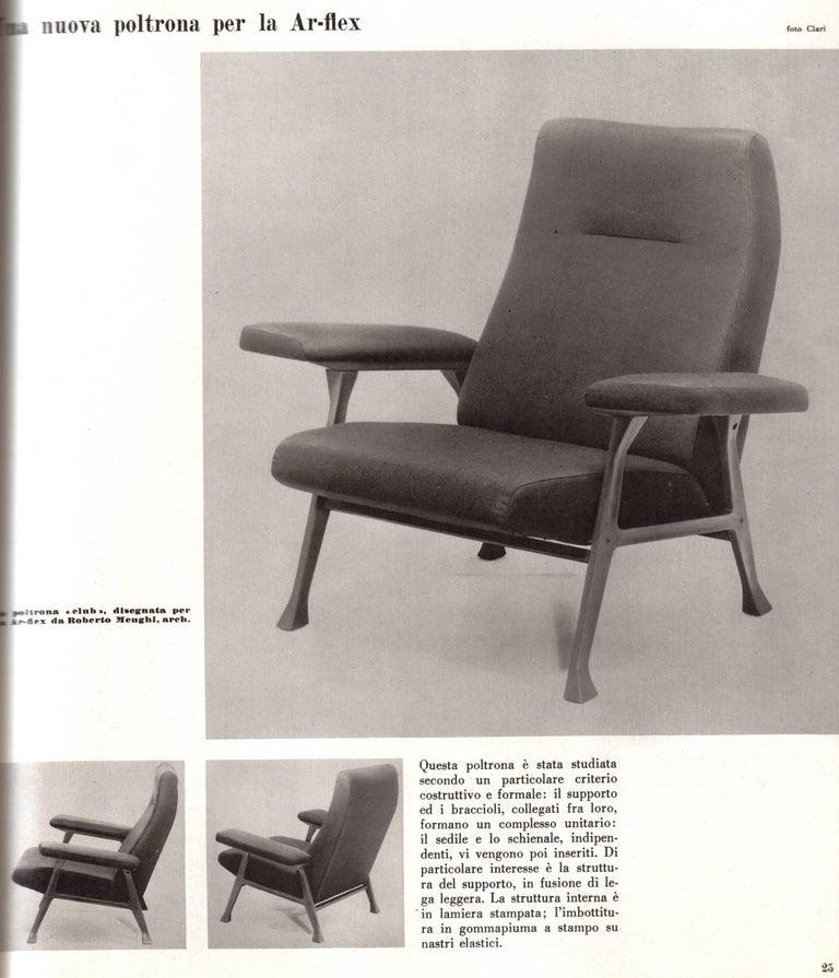 Mid-Century Modern Rare Roberto Menghi 'Hall' Lounge Chairs, Arflex ,1958, 'Compasso D'oro', 1959 For Sale