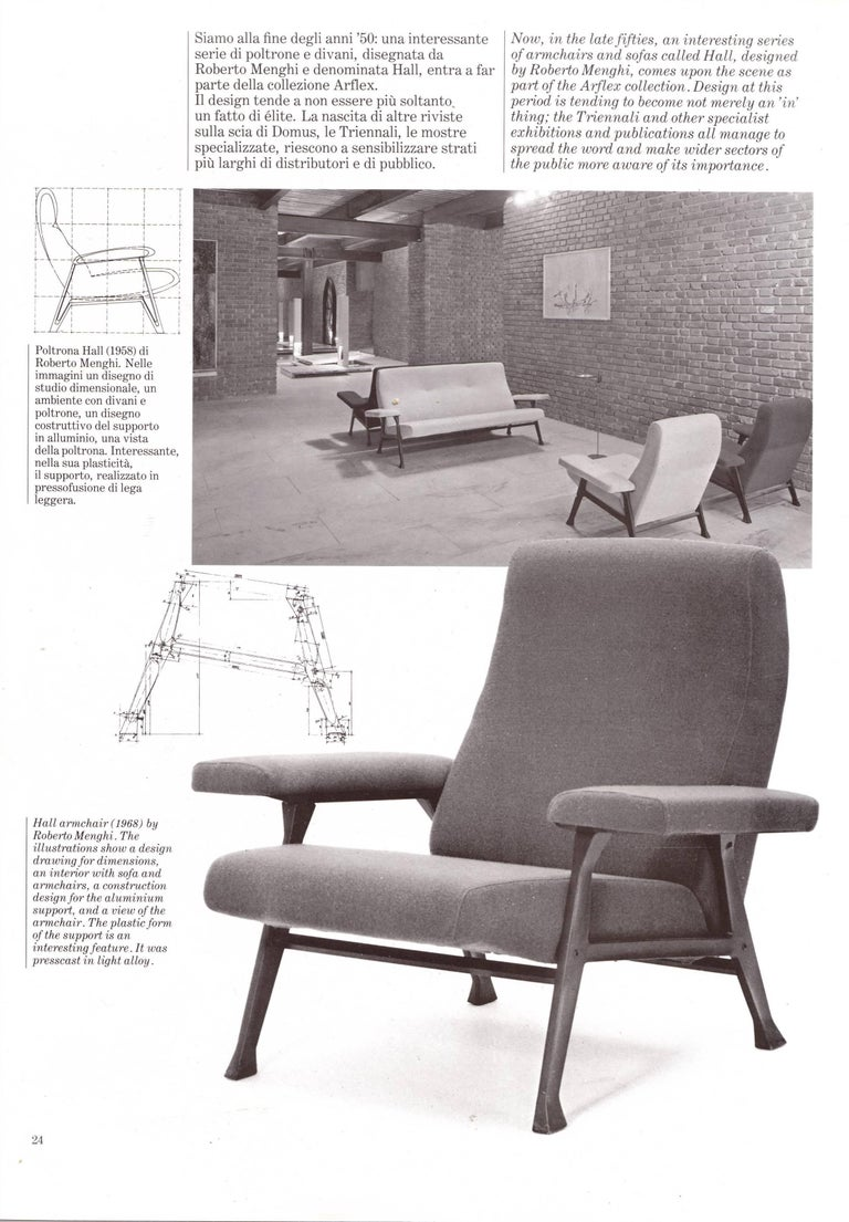 Steel Rare Roberto Menghi 'Hall' Lounge Chairs, Arflex ,1958, 'Compasso D'oro', 1959 For Sale
