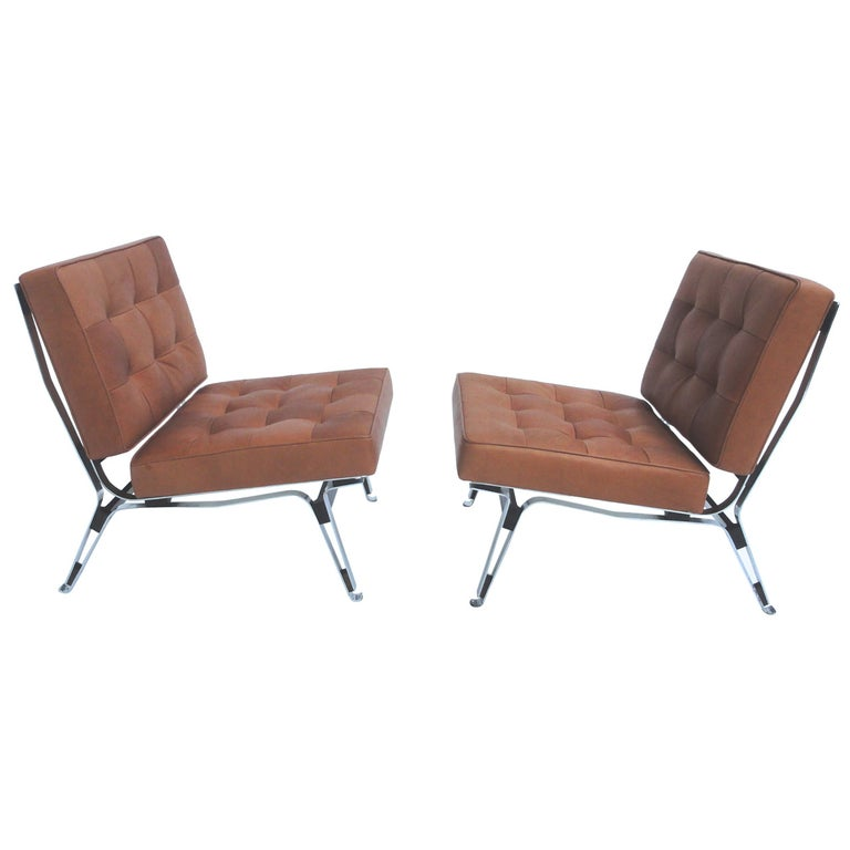 Beautiful Ico Parisi '856' Leather Lounge Chairs, Cassina, 1957 For Sale