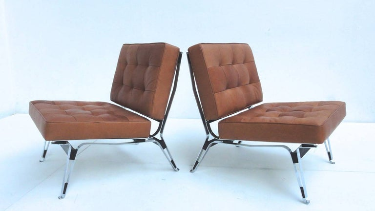 Mid-20th Century Beautiful Ico Parisi '856' Leather Lounge Chairs, Cassina, 1957 For Sale