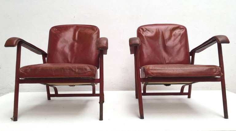 Mid-Century Modern Rare Pair of Original Vintage Leather Adnet Lounge Chairs, France, 1950s For Sale