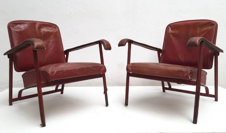 French Rare Pair of Original Vintage Leather Adnet Lounge Chairs, France, 1950s For Sale