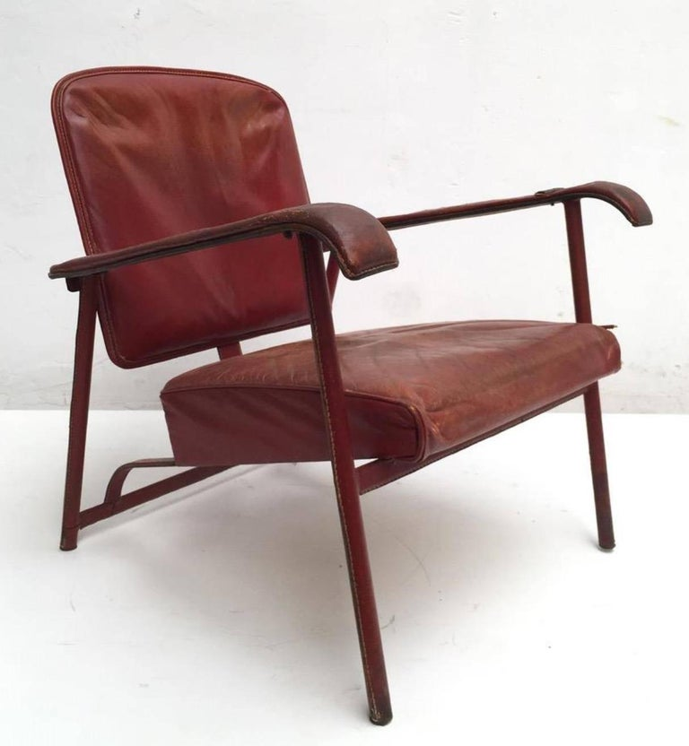 Enameled Rare Pair of Original Vintage Leather Adnet Lounge Chairs, France, 1950s For Sale