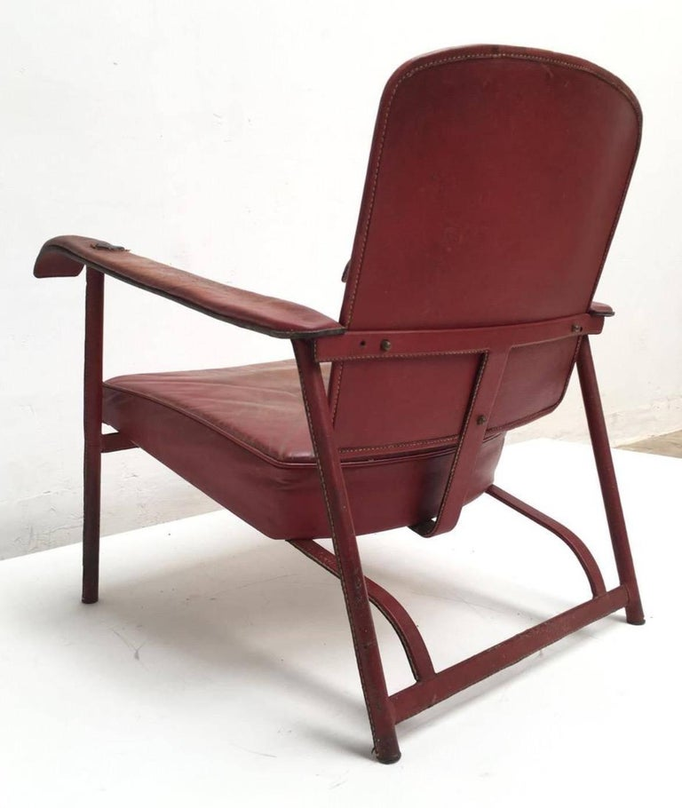 Mid-20th Century Rare Pair of Original Vintage Leather Adnet Lounge Chairs, France, 1950s For Sale