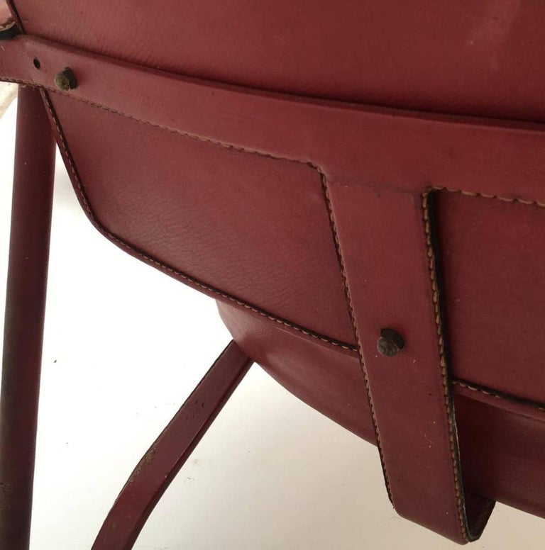 Steel Rare Pair of Original Vintage Leather Adnet Lounge Chairs, France, 1950s For Sale