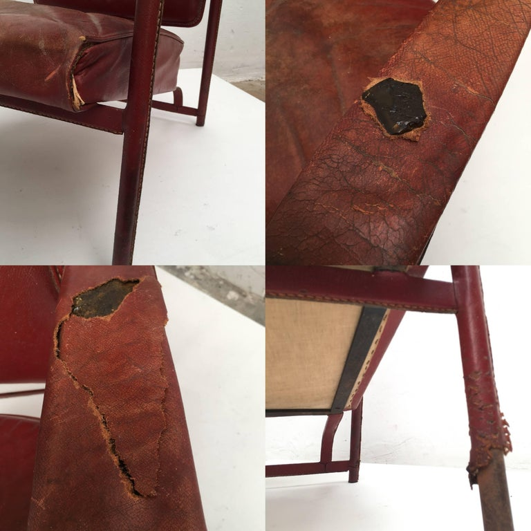 Rare Pair of Original Vintage Leather Adnet Lounge Chairs, France, 1950s For Sale 2