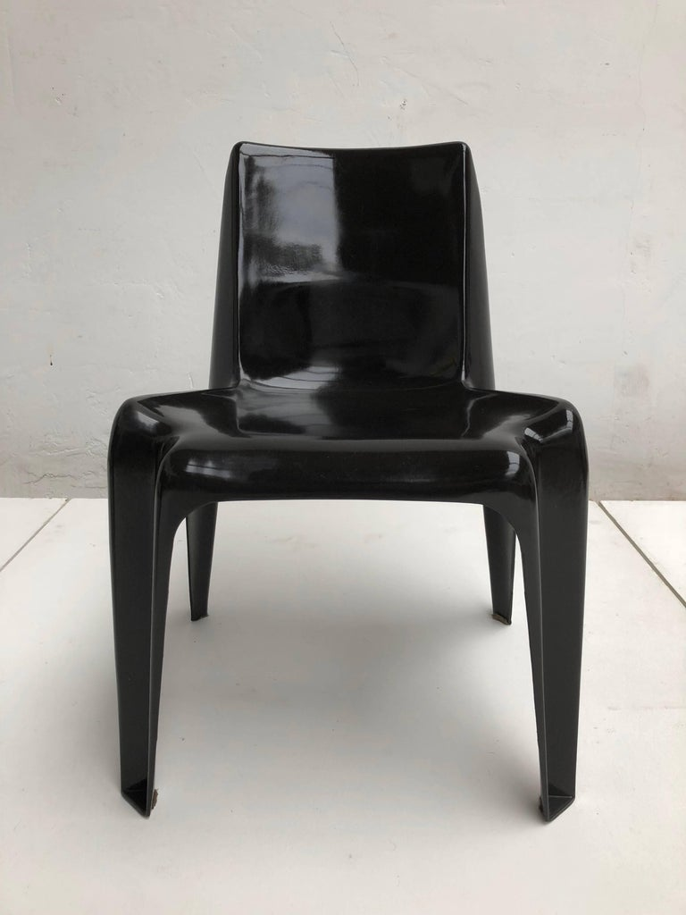 Molded Six Black Space Age BA 1171 Chairs by Helmut Bätzner for Bofinger, Germany, 1964 For Sale