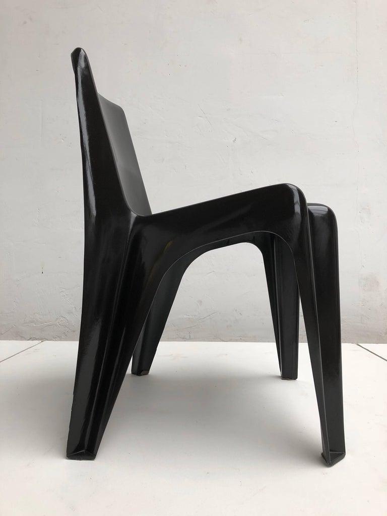 Mid-20th Century Six Black Space Age BA 1171 Chairs by Helmut Bätzner for Bofinger, Germany, 1964 For Sale