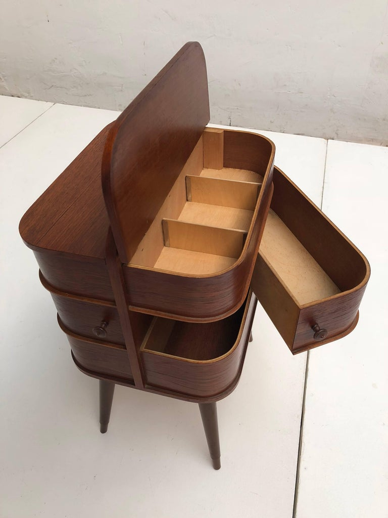 Mid-20th Century Adorable Danish Teak Plywood Sewing Box Distributed by Pastoe in the 1950s For Sale