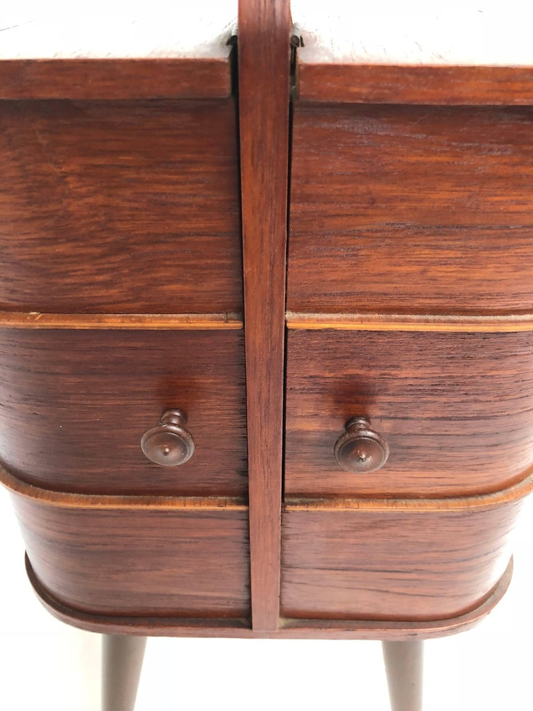 Adorable Danish Teak Plywood Sewing Box Distributed by Pastoe in the 1950s For Sale 1