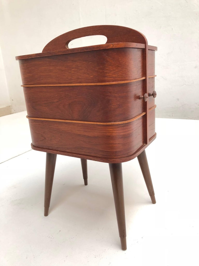 Mid-Century Modern Adorable Danish Teak Plywood Sewing Box Distributed by Pastoe in the 1950s For Sale