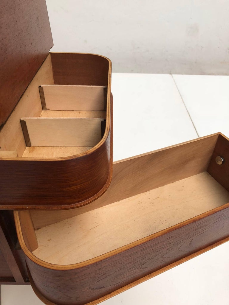 Molded Adorable Danish Teak Plywood Sewing Box Distributed by Pastoe in the 1950s For Sale