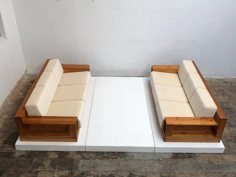 Italian Super Rare Pinewood & Mohair Sofas by Gianfranco Fini for Poltronova, Italy 1974 For Sale