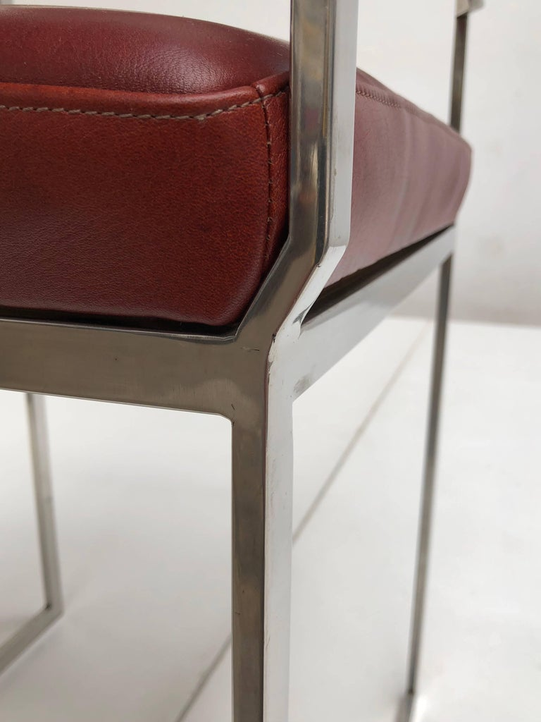 Stainless Steel Eight Exquisite Willy Rizzo Carver Dining Chairs, 1970, Published Casa Vogue For Sale