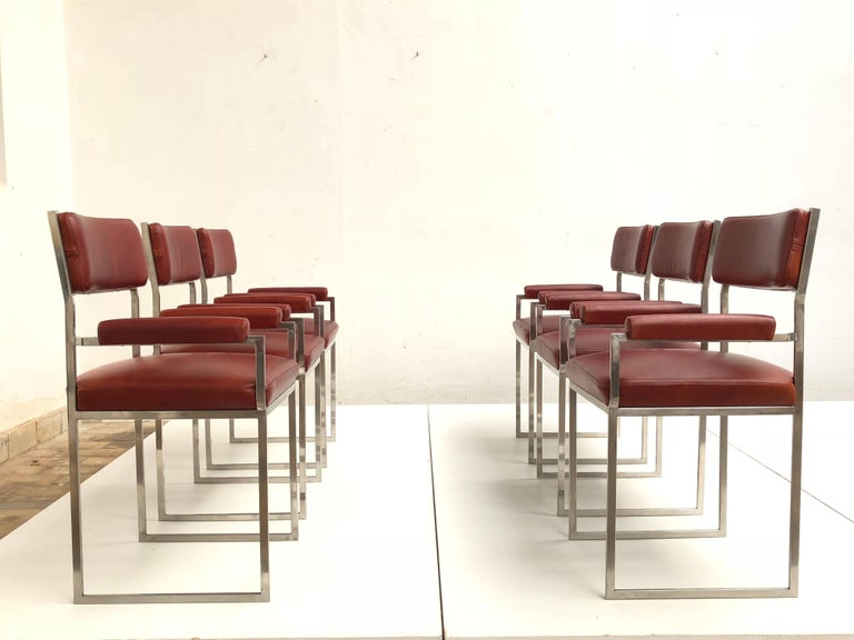 Mid-Century Modern Eight Exquisite Willy Rizzo Carver Dining Chairs, 1970, Published Casa Vogue For Sale