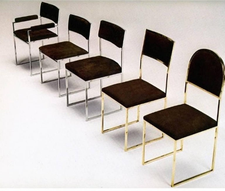 Italian Eight Exquisite Willy Rizzo Carver Dining Chairs, 1970, Published Casa Vogue For Sale