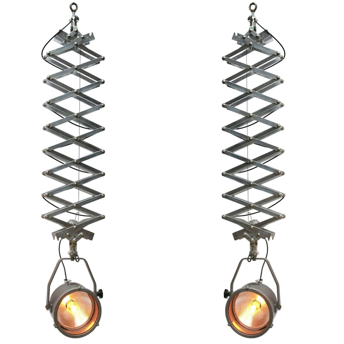 pair of extra large metal scissor lights for sale at 1stdibs
