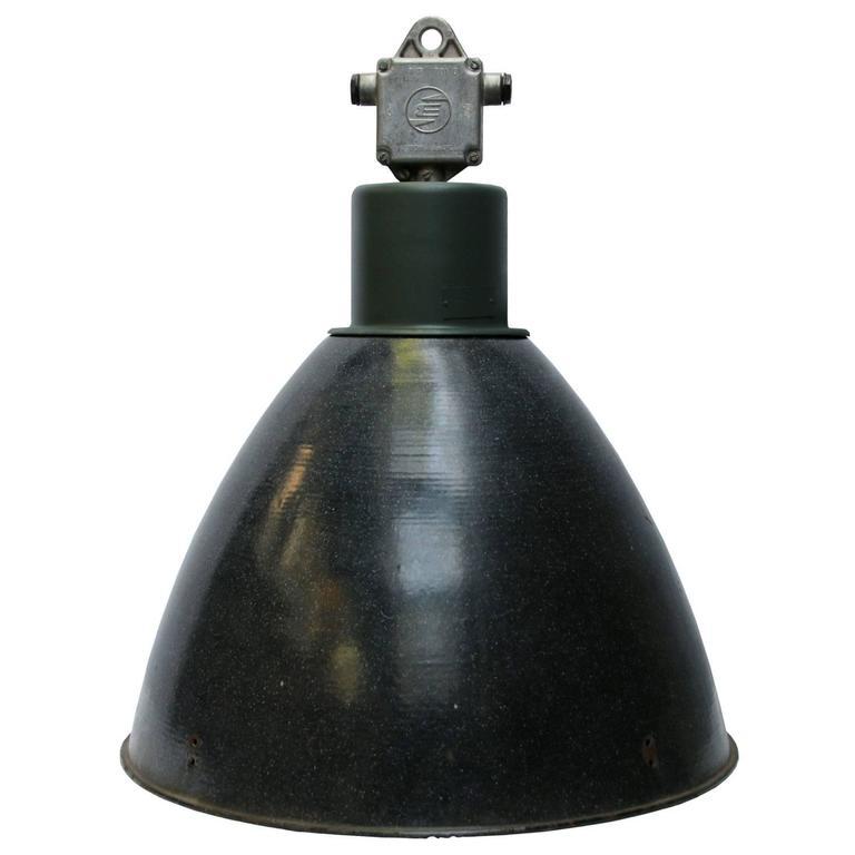 Large Dark Gray Enamel Vintage Industrial Pendant lights (2x)