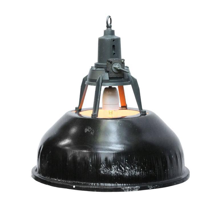 Vintage Black Industrial Pendants (4x)