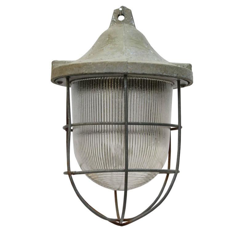 Vintage Industrial Cast Alumnium Hanging Light Halophane Glass