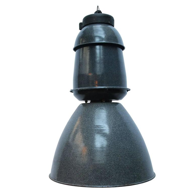 Grey Enamel Vintage Industrial Train station Light