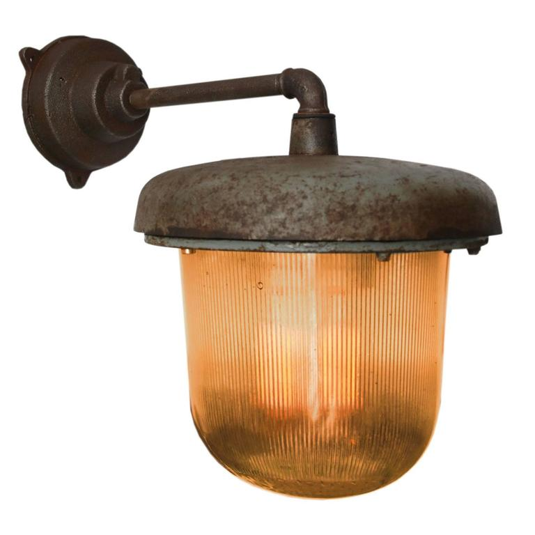 Cast iron industrial wall light holophane glass 16x for sale at cast iron industrial wall light holophane glass diameter cast iron wall piece 12 aloadofball Images