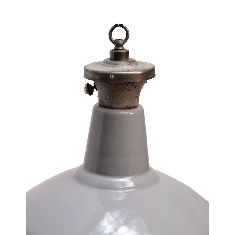 Vintage Industrial Enamel Pendant Light: Gray Enamel British Vintage Industrial Pendant Lights
