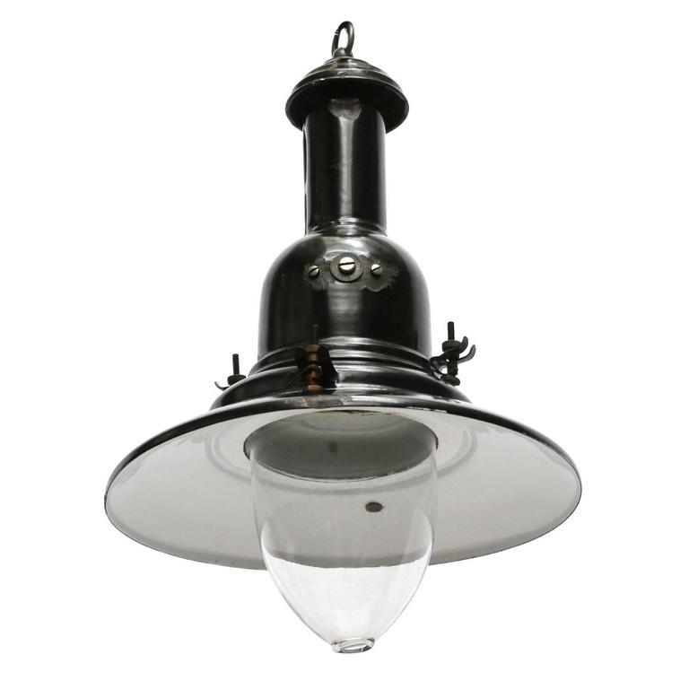 Black Greek Enamel Industrial Fishermans Lamp Pendant