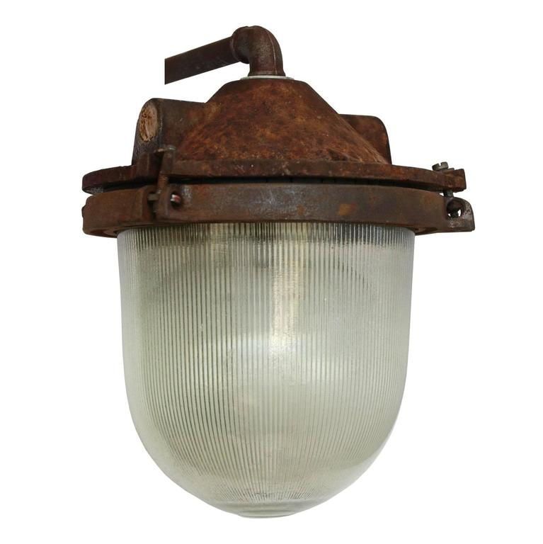 Cast Iron Industrial Wall Light Holophane Glass (2x) For Sale at 1stdibs