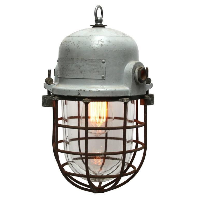 Gray vintage european industrial cage light at 1stdibs gray vintage european industrial cage light for sale mozeypictures