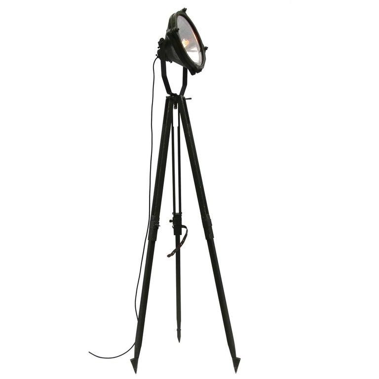 Vintage Industrial Mirror Spot Light Floor Lamp Green Wooden Tripod (20x)
