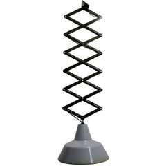 Vintage Industrial Scissor Pendant Light Gray Enamel (2x)