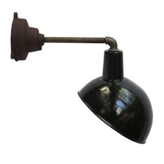 Industrial Wall Light Enamel Shade Cast Iron Arm Wall Mount