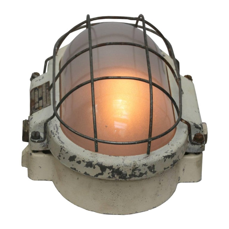 White Industrial Wall Ceiling Lamp, Frosted Glass (3x) For Sale at 1stdibs